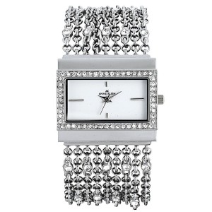 AK Anne Klein Women's 109707WTSV Swarovski Crystal Silver-Tone Rectangular Shape Chain Bracelet Watch