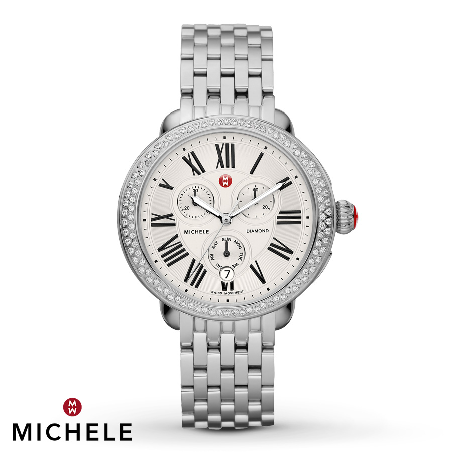 accessories day of silver lyst watches diamond chronograph stainless deco mother steel michele watch pearl bracelet